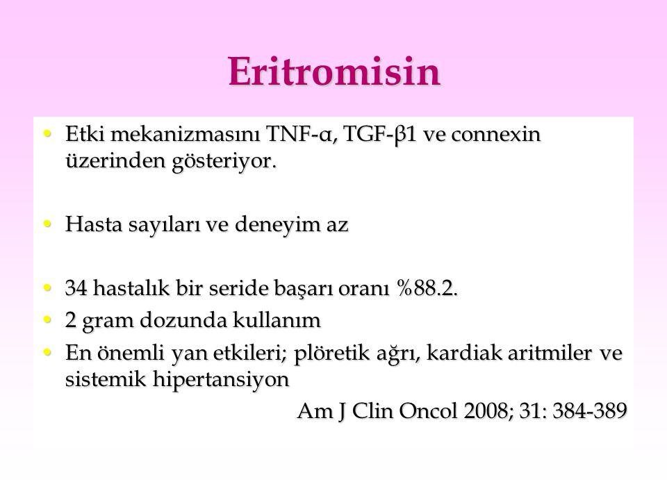 Eritromisin Etki mekanizmasını TNF-α, TGF-β1 ve connexin üzerinden gösteriyor.Etki mekanizmasını TNF-α, TGF-β1 ve connexin üzerinden gösteriyor. Hasta