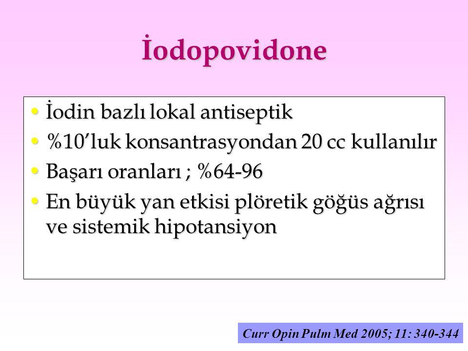 İodopovidone İodin bazlı lokal antiseptikİodin bazlı lokal antiseptik %10'luk konsantrasyondan 20 cc kullanılır%10'luk konsantrasyondan 20 cc kullanıl