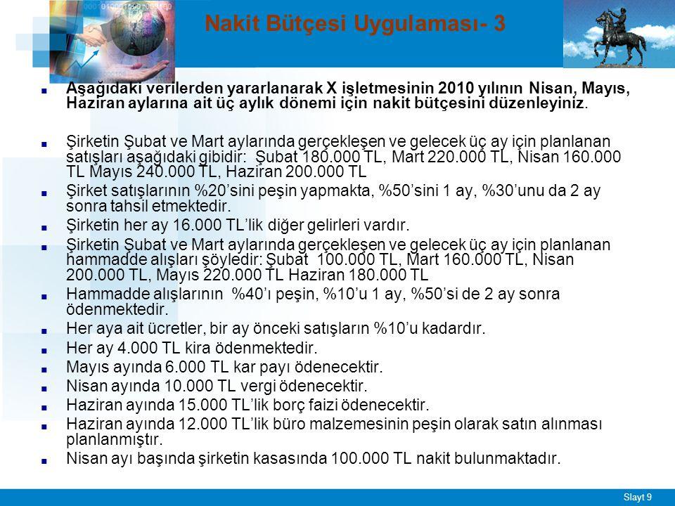 Slayt 9 Nakit Bütçesi Uygulaması- 3 ■ Aşağıdaki verilerden yararlanarak X işletmesinin 2010 yılının Nisan, Mayıs, Haziran aylarına ait üç aylık dönemi