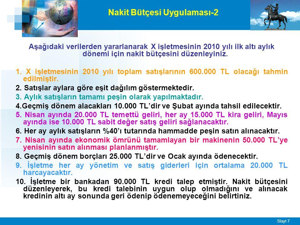 Slayt 7 Aşağıdaki verilerden yararlanarak X işletmesinin 2010 yılı ilk altı aylık dönemi için nakit bütçesini düzenleyiniz. 1. X işletmesinin 2010 yıl
