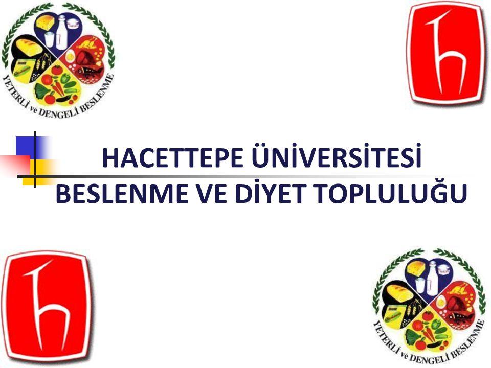 AMAÇLARIMIZ Türkiye genelinde diğer üniversite ve kurumlarla iletişim kurarak ve işbirliğinde bulunarak Beslenme ve Diyetetik bölümünün adını ve amacını duyurmak, Beslenme ve önemi konusunda H.Ü öğrencileri başta olmak üzere topluma bilgi vererek, yeterli ve dengeli beslenmeyle ilgili farkındalık yaratmak,