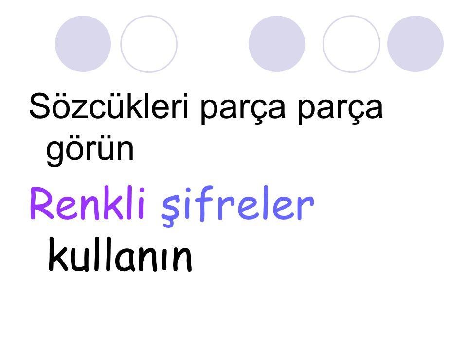 Sözcükleri parça parça görün Renkli şifreler kullanın