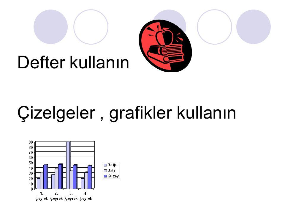 Defter kullanın Çizelgeler, grafikler kullanın