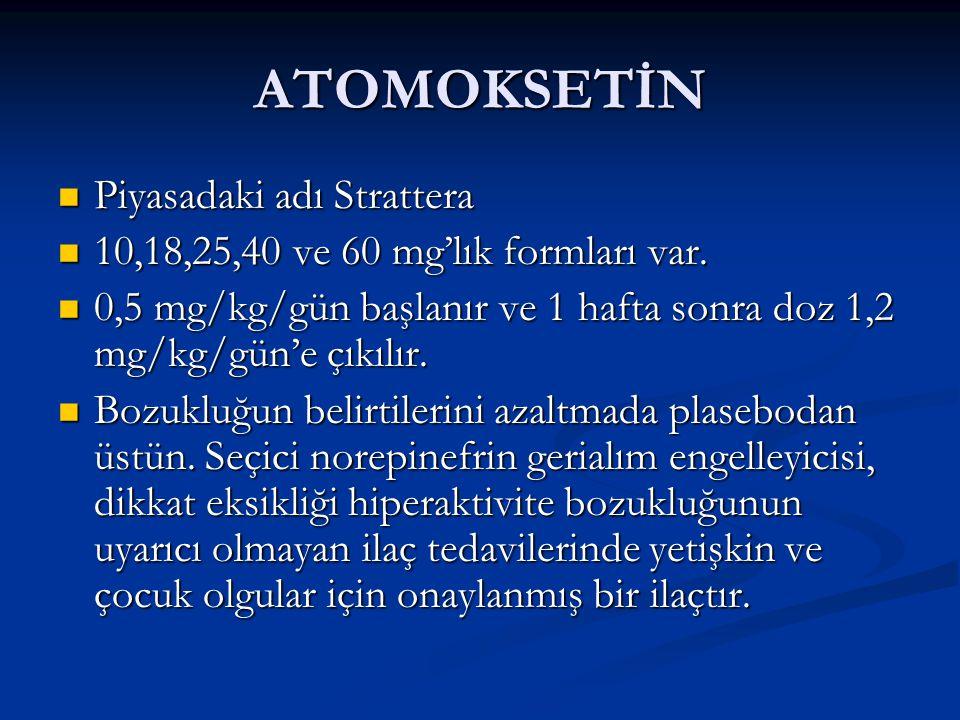 ATOMOKSETİN Piyasadaki adı Strattera Piyasadaki adı Strattera 10,18,25,40 ve 60 mg'lık formları var. 10,18,25,40 ve 60 mg'lık formları var. 0,5 mg/kg/