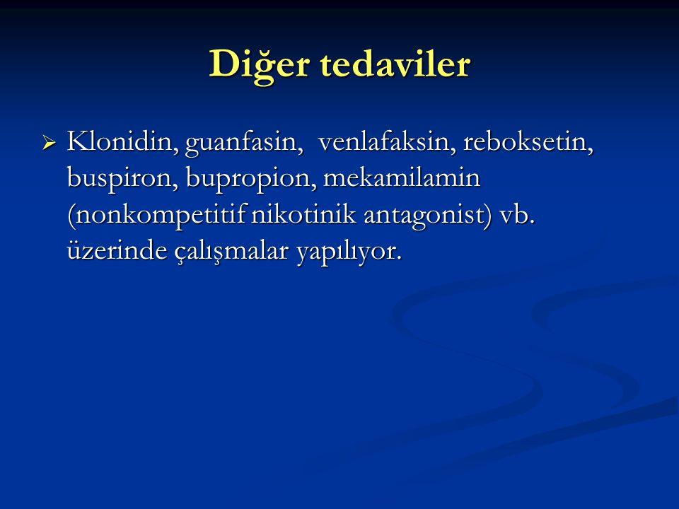 Diğer tedaviler  Klonidin, guanfasin, venlafaksin, reboksetin, buspiron, bupropion, mekamilamin (nonkompetitif nikotinik antagonist) vb.