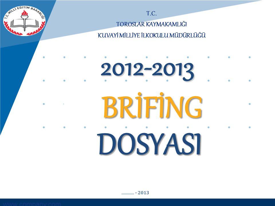 www.company.com T.C. TOROSLAR KAYMAKAMLIĞI KUVAYİ MİLLİYE İLKOKULU MÜDÜRLÜĞÜ BRİFİNG DOSYASI 2012-2013........... - 2013