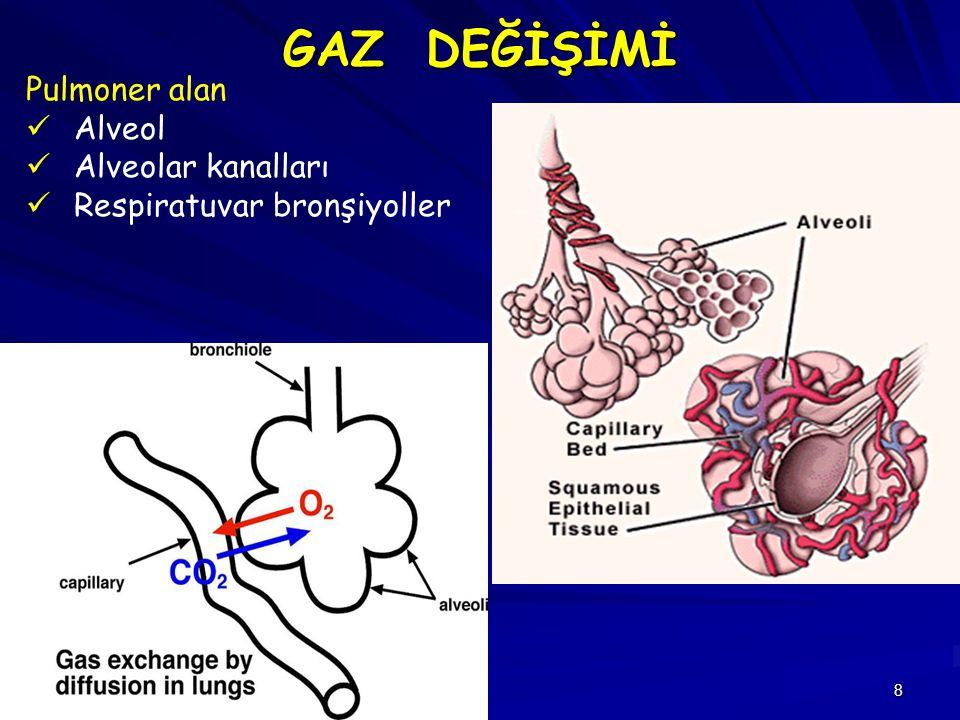 29 Fonksiyonel residüel kapasite pozisyon ilişkisi Yan dekübit ve litotomi pozisyonları FRK'yi azaltır Trendelenburg pozisyonunda Akciğerin büyük kısmı sol atriyumun altında kalır > interstisyel pulmoner ödem Genel Anesteziye bağlı FRK'deki azalma, atelektazik alanların varlığıyla açıklanır 10 saniye süreyle 40 cm H 2 O basınçlı inflasyonla yapılan kazandırma manevrası ( recruitment manevrası) atelektazik alanları açılmasını sağlar.