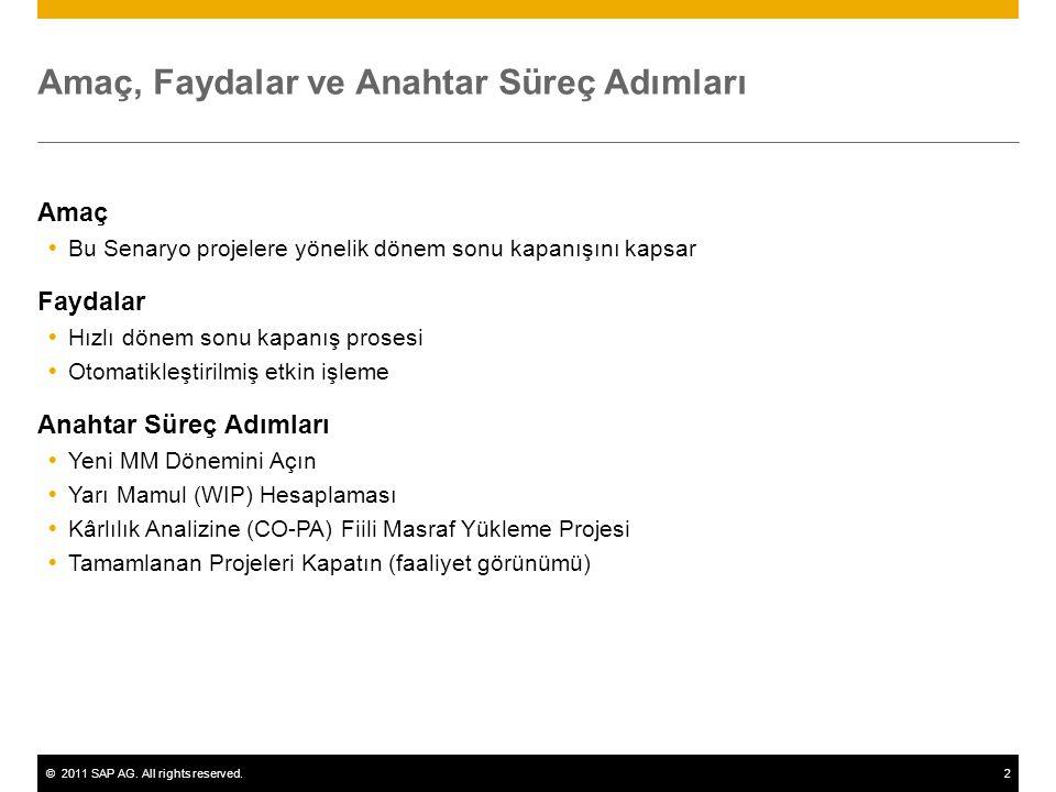 ©2011 SAP AG. All rights reserved.2 Amaç, Faydalar ve Anahtar Süreç Adımları Amaç  Bu Senaryo projelere yönelik dönem sonu kapanışını kapsar Faydalar