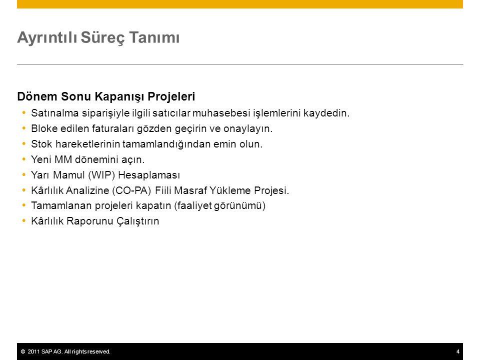 ©2011 SAP AG. All rights reserved.4 Ayrıntılı Süreç Tanımı Dönem Sonu Kapanışı Projeleri  Satınalma siparişiyle ilgili satıcılar muhasebesi işlemleri