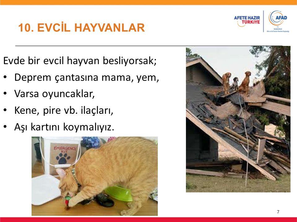 10. EVCİL HAYVANLAR 7 Evde bir evcil hayvan besliyorsak; Deprem çantasına mama, yem, Varsa oyuncaklar, Kene, pire vb. ilaçları, Aşı kartını koymalıyız