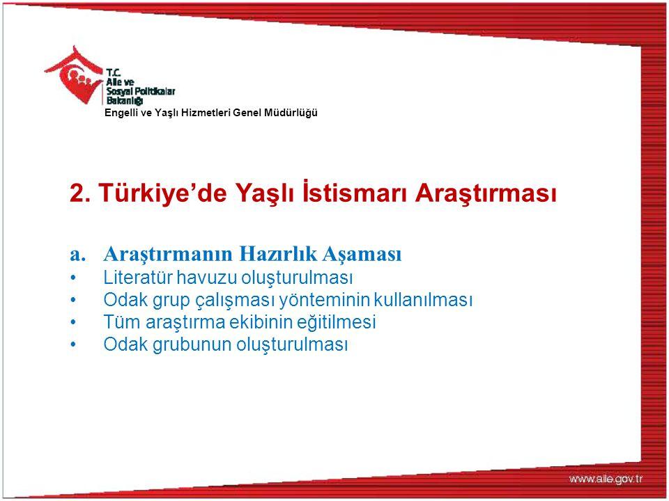 Engelli ve Yaşlı Hizmetleri Genel Müdürlüğü 2. Türkiye'de Yaşlı İstismarı Araştırması a.Araştırmanın Hazırlık Aşaması Literatür havuzu oluşturulması O