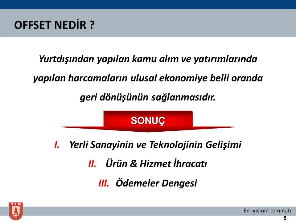 6 SK/O KATEGORİLERİ  Proje kapsamında Türk sanayisi tarafından gerçekleştirilen iş payı  Savunma, anayurt güvenliği havacılık ve uzay ürün / hizmet ihracatı Yabancı Yüklenici:  Teknoloji ve yetenek kazanımı  Yatırımlar Yerli Yüklenici:  Ar-Ge ve eğitim desteği C.