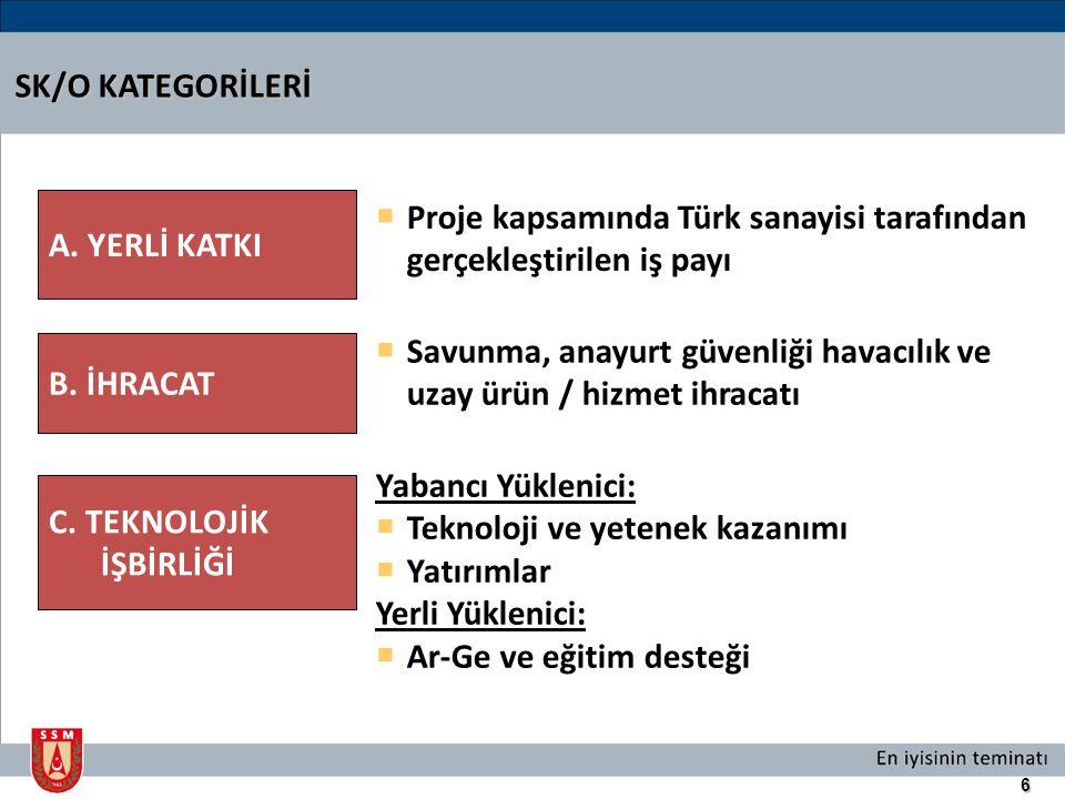 6 SK/O KATEGORİLERİ  Proje kapsamında Türk sanayisi tarafından gerçekleştirilen iş payı  Savunma, anayurt güvenliği havacılık ve uzay ürün / hizmet
