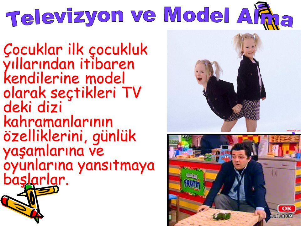 Çocuklar ilk çocukluk yıllarından itibaren kendilerine model olarak seçtikleri TV deki dizi kahramanlarının özelliklerini, günlük yaşamlarına ve oyunlarına yansıtmaya başlarlar.