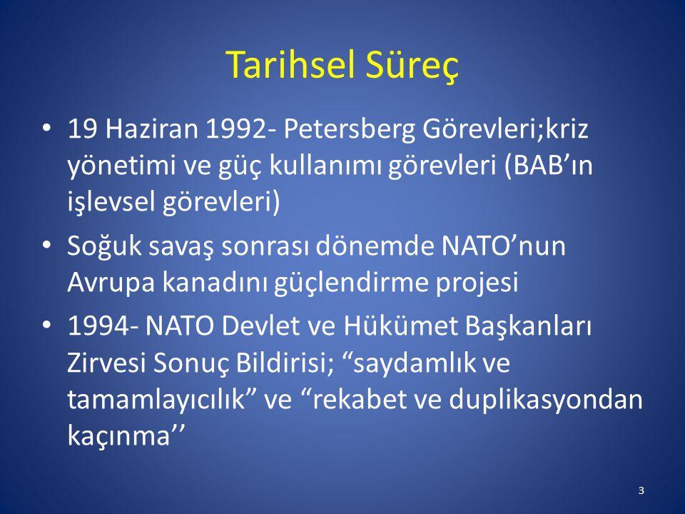 Tarihsel Süreç 19 Haziran 1992- Petersberg Görevleri;kriz yönetimi ve güç kullanımı görevleri (BAB'ın işlevsel görevleri) Soğuk savaş sonrası dönemde