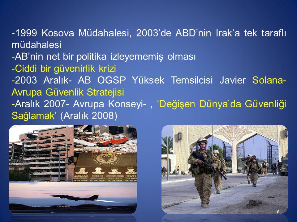 -1999 Kosova Müdahalesi, 2003'de ABD'nin Irak'a tek taraflı müdahalesi -AB'nin net bir politika izleyememiş olması -Ciddi bir güvenirlik krizi -2003 A