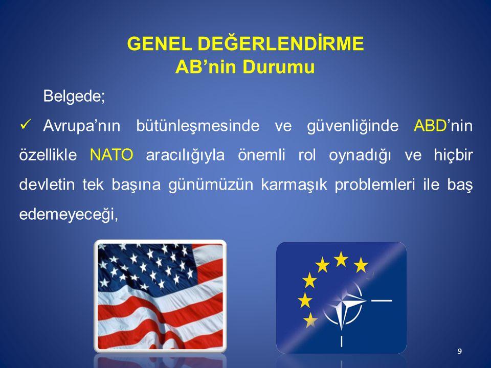 Belgede; Avrupa'nın bütünleşmesinde ve güvenliğinde ABD'nin özellikle NATO aracılığıyla önemli rol oynadığı ve hiçbir devletin tek başına günümüzün ka
