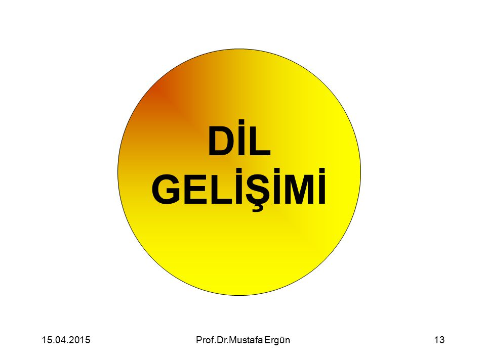 15.04.2015Prof.Dr.Mustafa Ergün13 DİL GELİŞİMİ