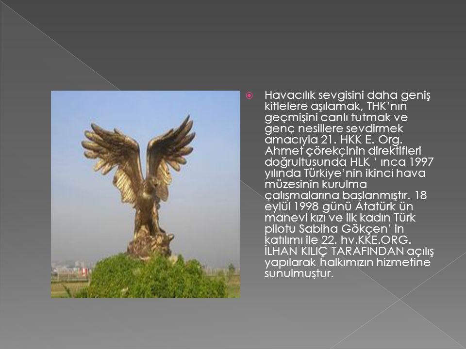 Havacılık sevgisini daha geniş kitlelere aşılamak, THK'nın geçmişini canlı tutmak ve genç nesillere sevdirmek amacıyla 21. HKK E. Org. Ahmet çörekçi