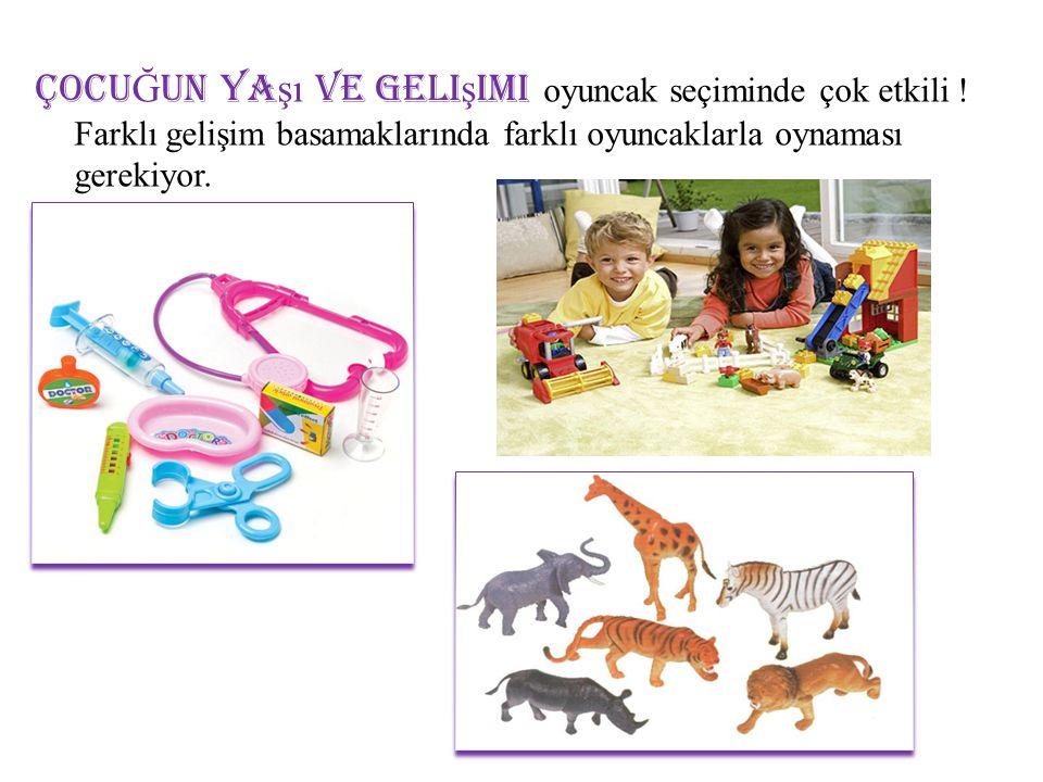 2-4 ya ş,  itmeli çekmeli oyuncaklar  farklı sayıda parçaları olan yapbozlar  boyalar(parmak boya, pastel boya,boya kalemleri)  boyama kitapları  oyun hamurları  mutfak seti  doktor malzemeleri  tamir aletleri  tahta bloklar, legolar  hayvan seti  kuaför seti  çeşitli kuklalar  üç tekerlekli bisiklet