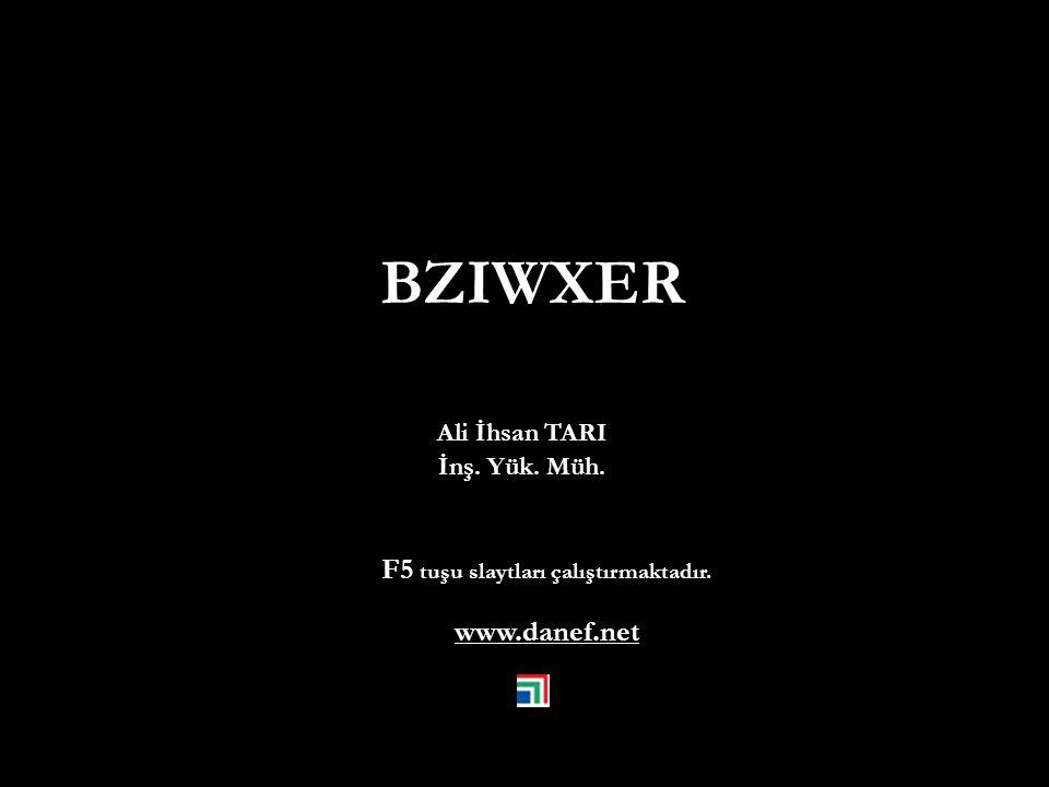 Ali İhsan TARI İnş. Yük. Müh. F5 tuşu slaytları çalıştırmaktadır. www.danef.net BZIWXER