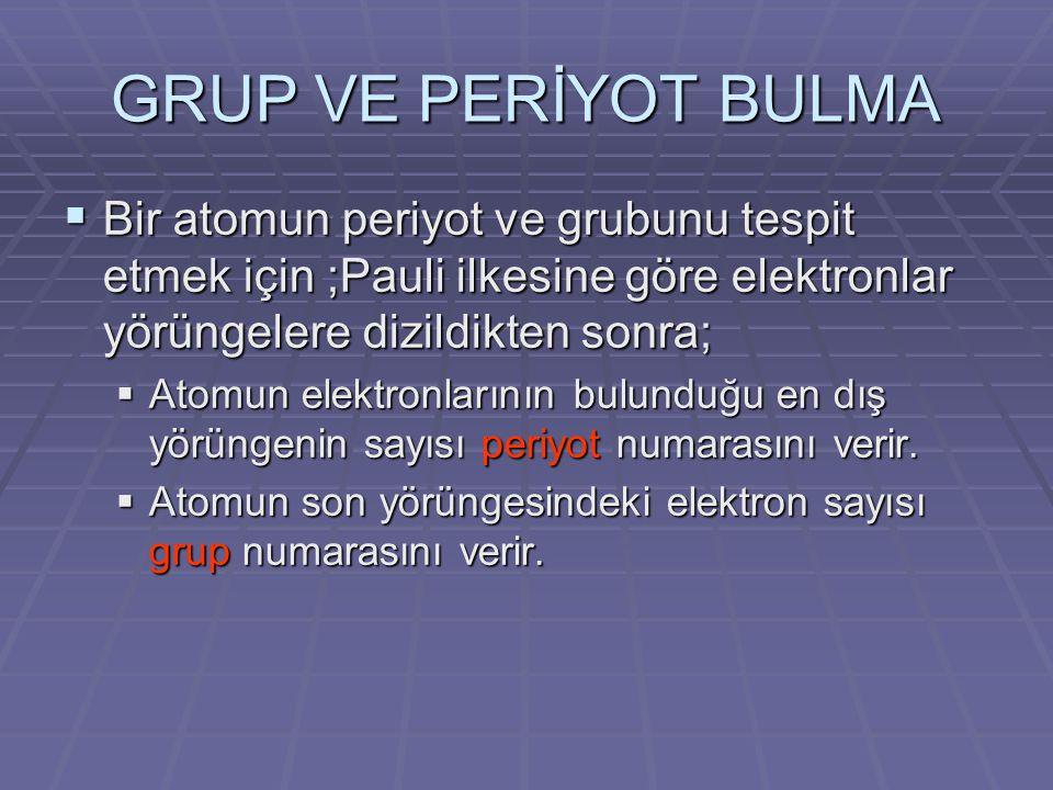GRUP VE PERİYOT BULMA  Bir atomun periyot ve grubunu tespit etmek için ;Pauli ilkesine göre elektronlar yörüngelere dizildikten sonra;  Atomun elekt