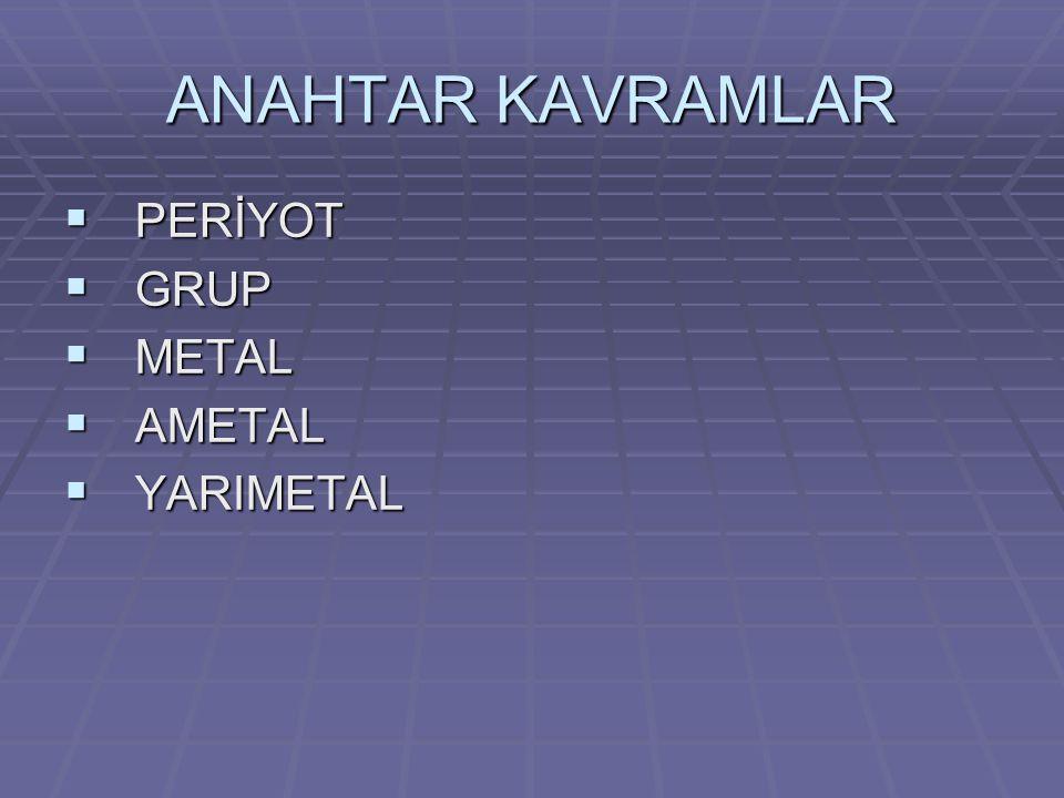 ANAHTAR KAVRAMLAR  PERİYOT  GRUP  METAL  AMETAL  YARIMETAL