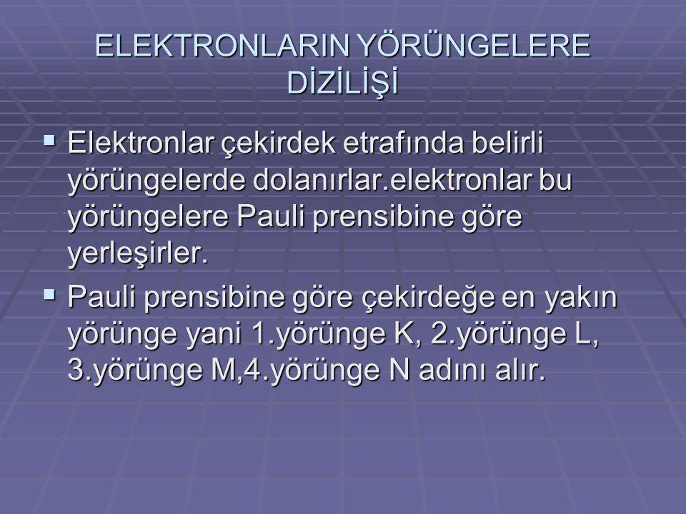 ELEKTRONLARIN YÖRÜNGELERE DİZİLİŞİ  Elektronlar çekirdek etrafında belirli yörüngelerde dolanırlar.elektronlar bu yörüngelere Pauli prensibine göre y