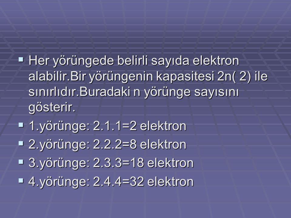  Her yörüngede belirli sayıda elektron alabilir.Bir yörüngenin kapasitesi 2n( 2) ile sınırlıdır.Buradaki n yörünge sayısını gösterir.  1.yörünge: 2.