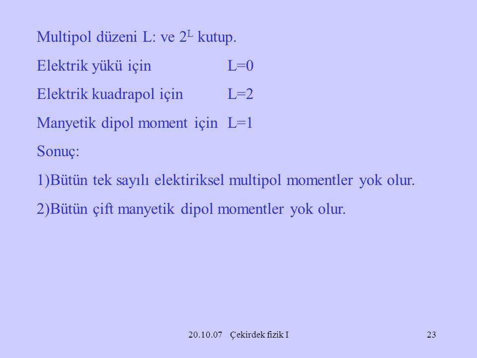 20.10.07 Çekirdek fizik I Multipol düzeni L: ve 2 L kutup. Elektrik yükü için L=0 Elektrik kuadrapol için L=2 Manyetik dipol moment içinL=1 Sonuç: 1)B