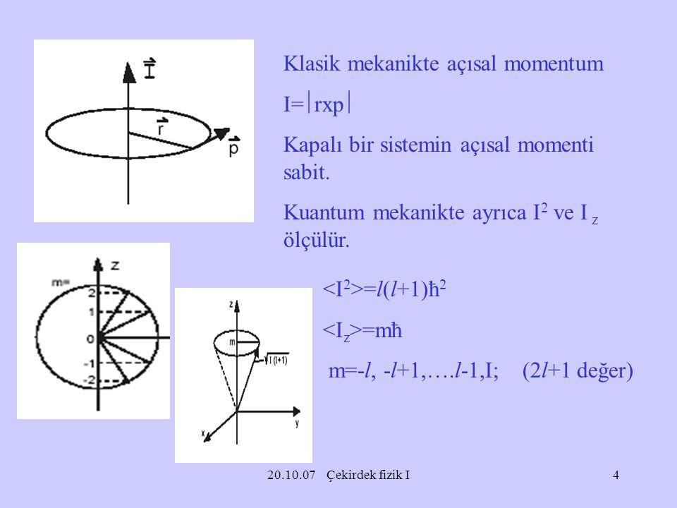 20.10.07 Çekirdek fizik I Klasik mekanikte açısal momentum I=  rxp  Kapalı bir sistemin açısal momenti sabit. Kuantum mekanikte ayrıca I 2 ve I z öl