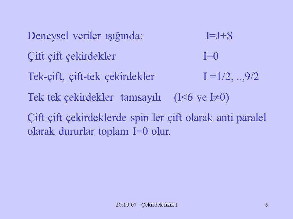 20.10.07 Çekirdek fizik I Deneysel veriler ışığında: I=J+S Çift çift çekirdeklerI=0 Tek-çift, çift-tek çekirdeklerI =1/2,..,9/2 Tek tek çekirdekler ta
