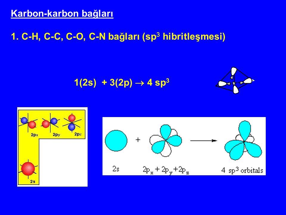 Karbon-karbon bağları 1.C-H, C-C, C-O, C-N bağları (sp 3 hibritleşmesi) 1(2s) + 3(2p)  4 sp 3