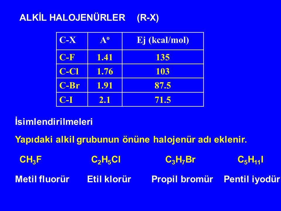 ALKİL HALOJENÜRLER (R-X) C-XAoAo Ej (kcal/mol) C-F1.41135 C-Cl1.76103 C-Br1.9187.5 C-I2.171.5 CH 3 F C 2 H 5 Cl C 3 H 7 Br C 5 H 11 I Metil fluorür Et