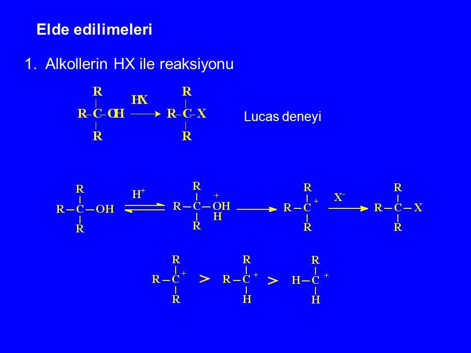 Elde edilimeleri 1. Alkollerin HX ile reaksiyonu Lucas deneyi