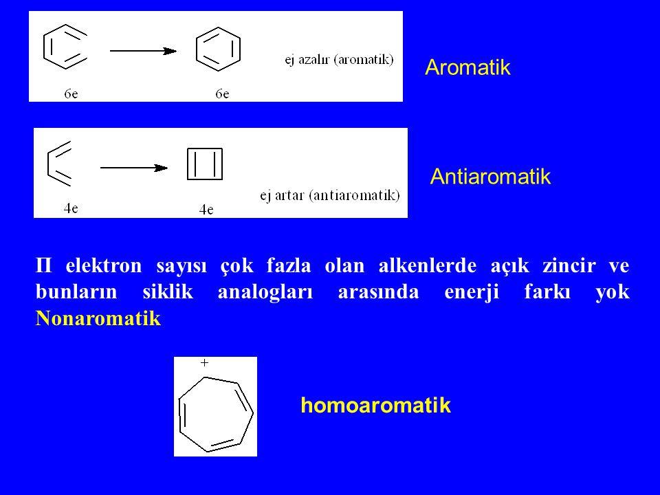 homoaromatik Π elektron sayısı çok fazla olan alkenlerde açık zincir ve bunların siklik analogları arasında enerji farkı yok Nonaromatik Aromatik Anti