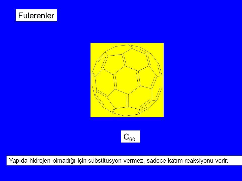 C 60 Fulerenler Yapıda hidrojen olmadığı için sübstitüsyon vermez, sadece katım reaksiyonu verir.