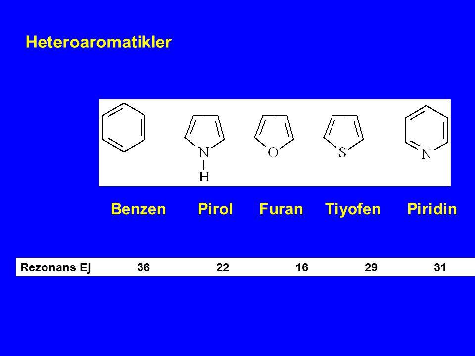Heteroaromatikler Benzen Pirol Furan Tiyofen Piridin Rezonans Ej 36 22 16 29 31