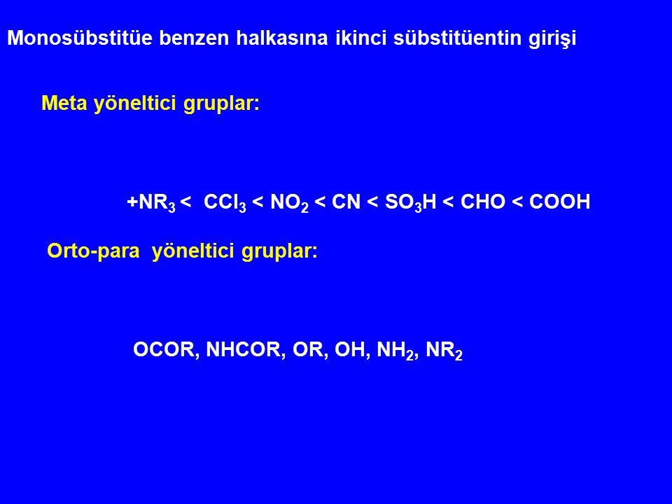 Monosübstitüe benzen halkasına ikinci sübstitüentin girişi Meta yöneltici gruplar: +NR 3 < CCl 3 < NO 2 < CN < SO 3 H < CHO < COOH Orto-para yöneltici