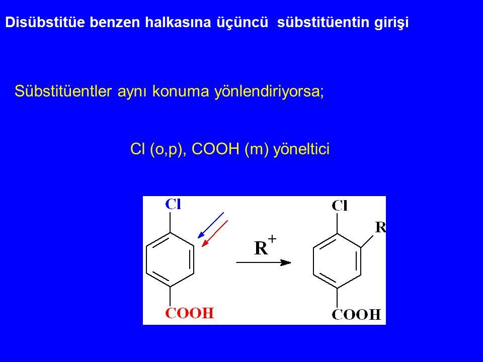 Disübstitüe benzen halkasına üçüncü sübstitüentin girişi Sübstitüentler aynı konuma yönlendiriyorsa; Cl (o,p), COOH (m) yöneltici