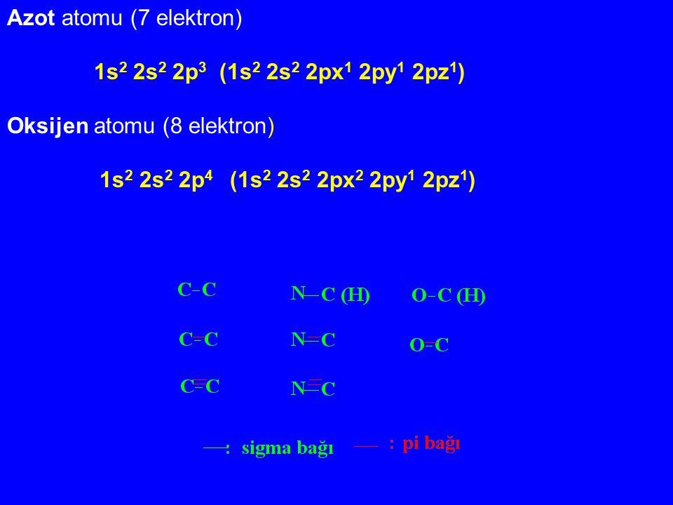 Azot atomu (7 elektron) 1s 2 2s 2 2p 3 (1s 2 2s 2 2px 1 2py 1 2pz 1 ) Oksijen atomu (8 elektron) 1s 2 2s 2 2p 4 (1s 2 2s 2 2px 2 2py 1 2pz 1 )