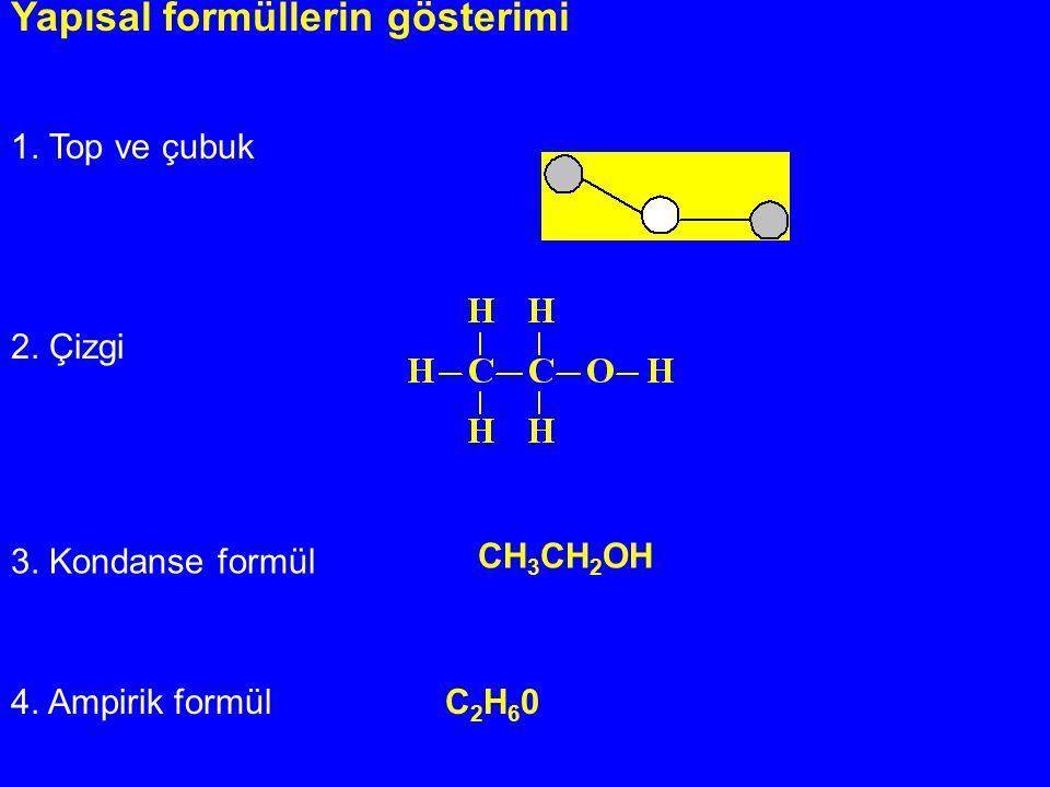 Yapısal formüllerin gösterimi 1. Top ve çubuk 2. Çizgi 3. Kondanse formül 4. Ampirik formül C 2 H 6 0 CH 3 CH 2 OH