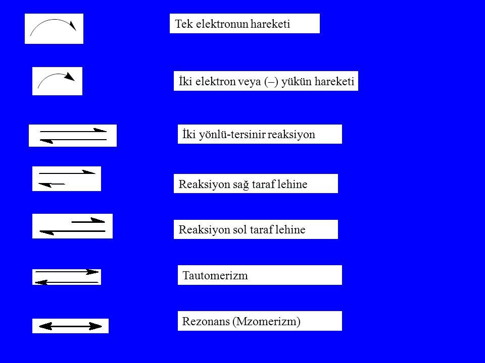 Tek elektronun hareketi İki elektron veya (–) yükün hareketi İki yönlü-tersinir reaksiyon Reaksiyon sağ taraf lehine Reaksiyon sol taraf lehine Tautom