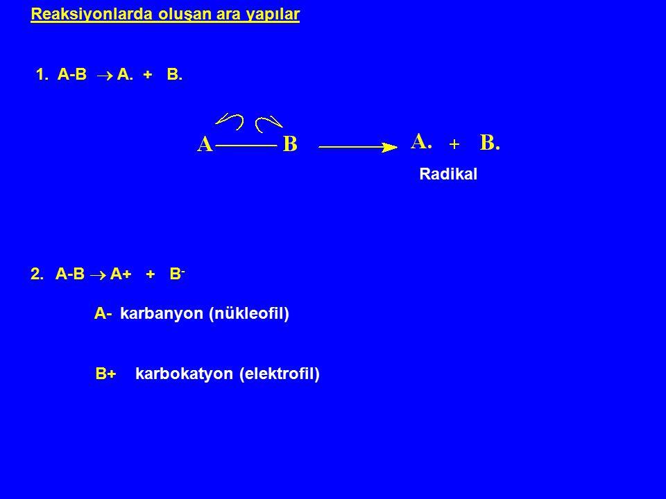 Reaksiyonlarda oluşan ara yapılar 1. A-B  A. + B. Radikal 2.A-B  A+ + B - A- karbanyon (nükleofil) B+ karbokatyon (elektrofil)