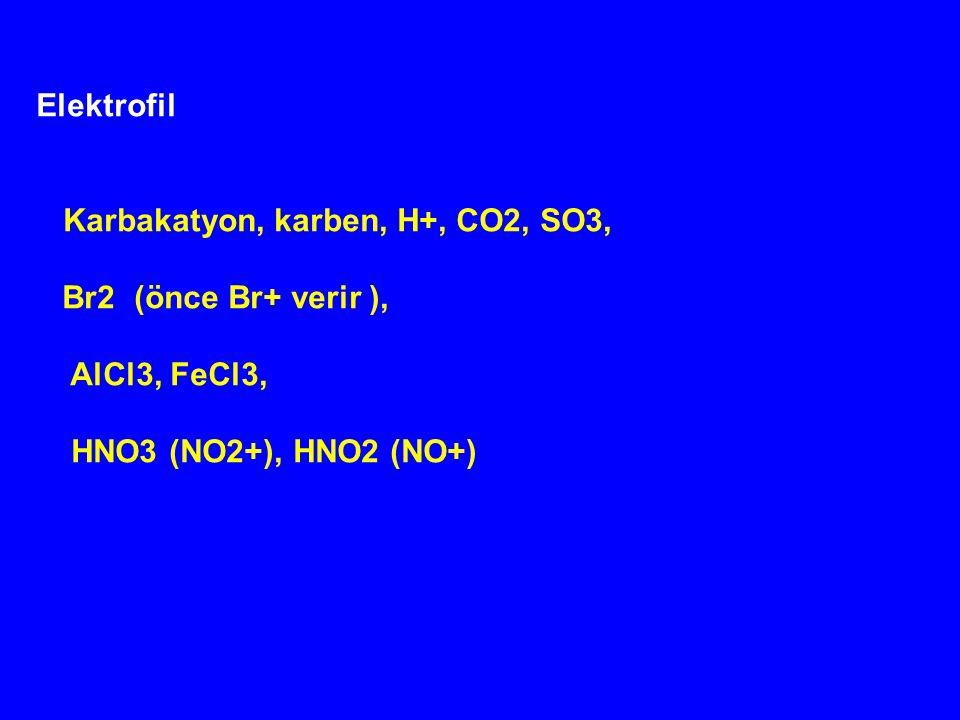 Elektrofil Karbakatyon, karben, H+, CO2, SO3, Br2 (önce Br+ verir ), AlCl3, FeCl3, HNO3 (NO2+), HNO2 (NO+)