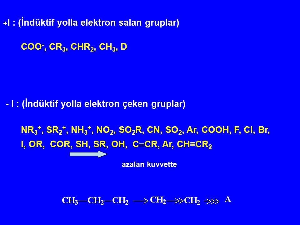 + I : (İndüktif yolla elektron salan gruplar) COO -, CR 3, CHR 2, CH 3, D - I : (İndüktif yolla elektron çeken gruplar) NR 3 +, SR 2 +, NH 3 +, NO 2,