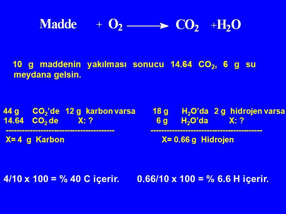 10 g maddenin yakılması sonucu 14.64 CO 2, 6 g su meydana gelsin. 44 g CO 2 'de 12 g karbon varsa 18 g H 2 O'da 2 g hidrojen varsa 14.64 CO 2 de X: ?