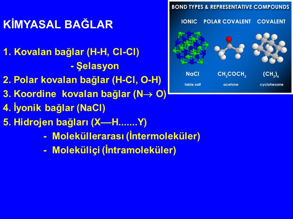 KİMYASAL BAĞLAR 1.Kovalan bağlar (H-H, Cl-Cl) - Şelasyon 2. Polar kovalan bağlar (H-Cl, O-H) 3. Koordine kovalan bağlar (N  O) 4. İyonik bağlar (NaCl