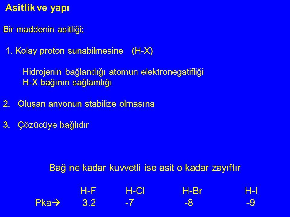 Asitlik ve yapı Bir maddenin asitliği; 1. Kolay proton sunabilmesine (H-X) Hidrojenin bağlandığı atomun elektronegatifliği H-X bağının sağlamlığı 2. O