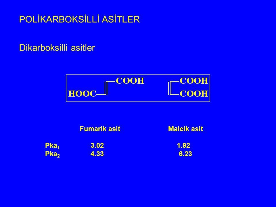 POLİKARBOKSİLLİ ASİTLER Dikarboksilli asitler Fumarik asit Maleik asit Pka 1 3.02 1.92 Pka 2 4.33 6.23